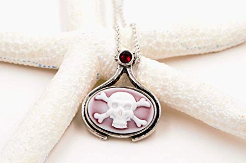 Pirate Skull and Crossbones Cameo Necklace with Swarovski Elements Rhinestone (Pirate Goth Fantasy Jewelry) (Pirate Rhinestone Crossbones Skull)