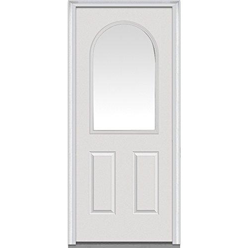 National Door Company Z000734R Steel Primed, Right Hand In-swing, Prehung Front Door, 1/2 Lite Round Top 2-Panel, Clear Glass, 32'' x 80'' by National Door Company