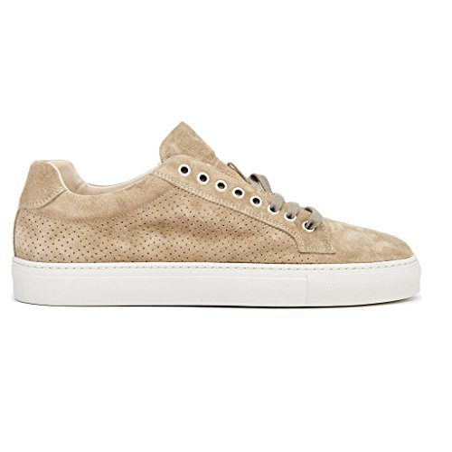 sneakers uomo frau fondo cassetta in camoscio beige MADE IN ITALY