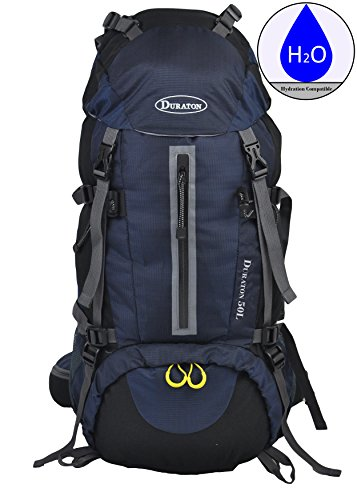 ack with Hydration Compatibility (50L) - Daypack with Rain Cover for Outdoor Backpacking Fishing Camping and Travel (Navy Blue) ()