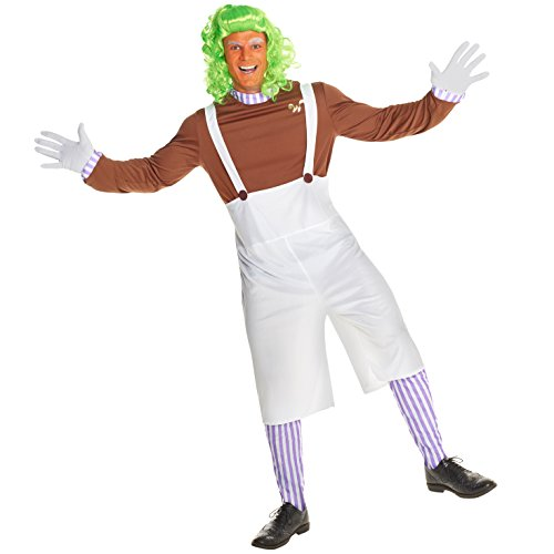Mens Dwarf Chocolate Worker Musical Costume - 4 Piece Quality (Oompa Loompa Willy Wonka Costume)