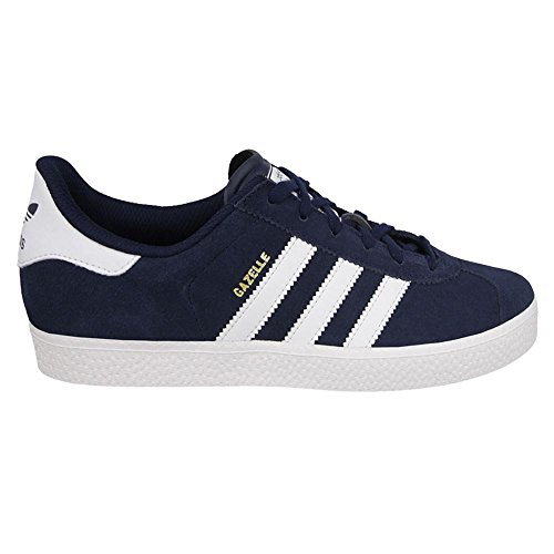 Adidas Youths Gazelle 2 Navy White Suede Trainers 4 US (Footwear Leather Navy Youth)