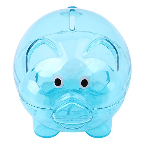 VWH Baby Plastic Piggy Bank Coin Money Cash Collectible Saving Box for Kids (blue) ()