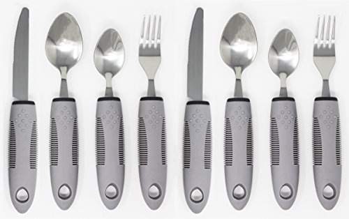 Adaptive Utensils (8-Piece Kitchen Set) Wide, Non-Weighted, Non-Slip Handles for Hand Tremors, Arthritis, Parkinson's or Elderly use | Stainless Steel Knife, Fork, Spoons (Gray - 2 Sets) by Pulse Brands