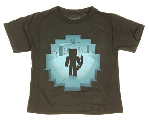 Minecraft Eye of Ender Youth Boys' T-Shirt (XS 4/5, Black) (Minecraft Kids Hoodie)