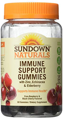 Sundown Naturals Immune Support Gummies Cran-Berry and Black Cherry Flavored - 60 ct, Pack of - Gummy 60 Count
