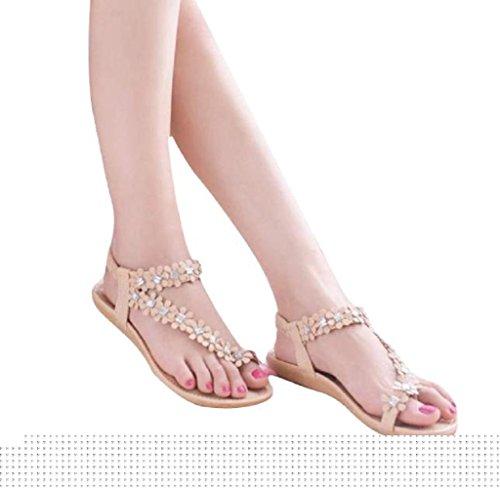 Khaki Shoes flop Women Willsa Sandals Beach Summer Bohemia Flip Beads Flat Flower PX7YXO