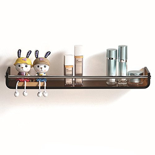 Tinted Tempered Glass Shelves - Fab Glass and Mirror FGM-L-V001 Tinted Bronze Stylish Chrome Towel Bar Glass Wall Shelf, 23, Brown
