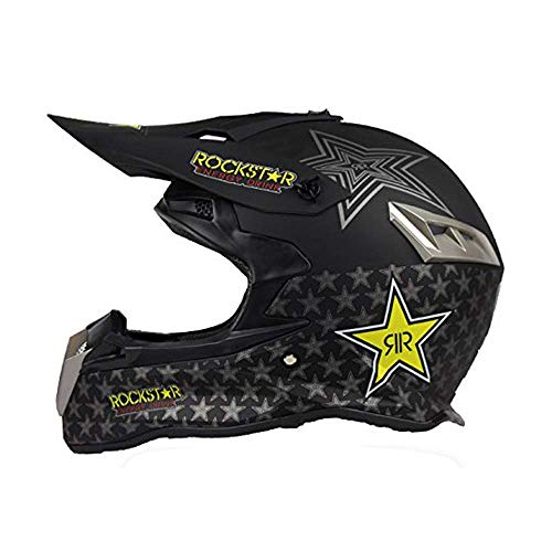KPTKⓇ Dual Sport Off Road Motorcycle Motocross Helmet Dirt Bike ATV D.O.T Certified Rockstar Black (M) (Rockstar Dirt Bike Helmets)