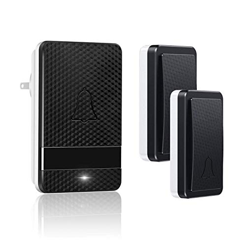 Naswei Wireless Doorbell Waterproof Door Bell Chimes Kits with Battery Free 28 Melodies Level Volume LED Indicator Door Chime 1 Plug-in Receiver&2 Transmitters Best for Home,Business,Office - Black