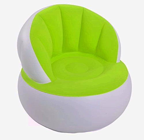 Comfy Inflatable Chair, Gren & White Color, Durable And High Resistant Construction, Lightweight, An Attractive And Modern Design, Quick Inflation, Eye-Catcing,Portable, Foldable,Endless Fun & E-Book.