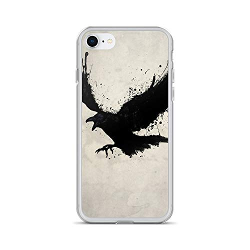 (iPhone 7/8 Case Anti-Scratch Creature Animal Transparent Cases Cover The Raven Animals Fauna Crystal Clear)