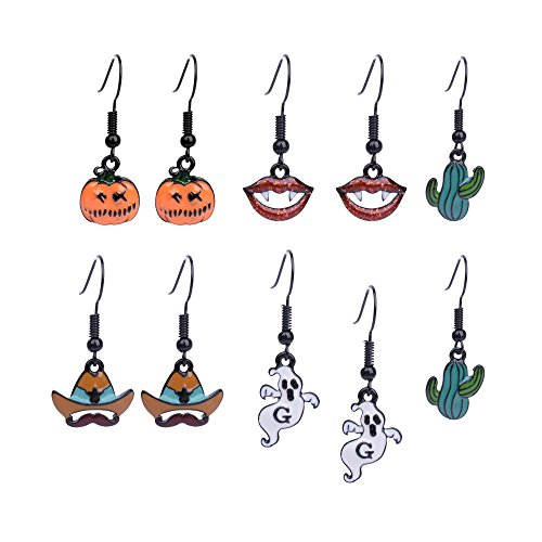 Paxuan Womens Girls Halloween Theme 5 Pairs Drop Dangle Earrings Jewelry Set Pumpkin Ghost Witch Hat Vampire Mouth Cactus Drop Dangle Earrings Sets for Women Girls (5 Pairs) -