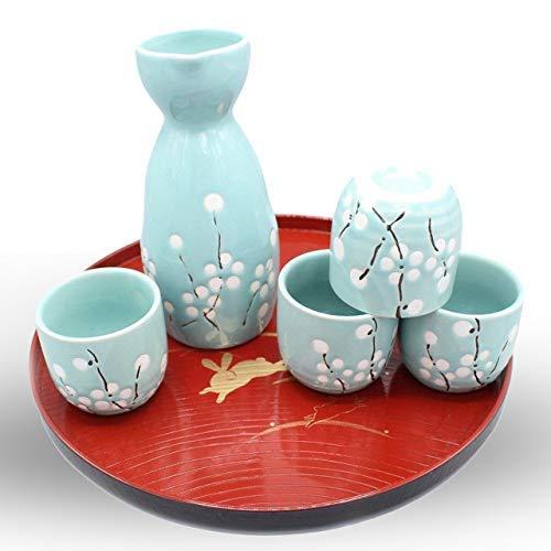 - Japanese Ceramic Sake Set ~ 5 Piece Sake Set (Included 1 TOKKURI bottle and 4 OCHOKO cups) with Green Flower Patterns