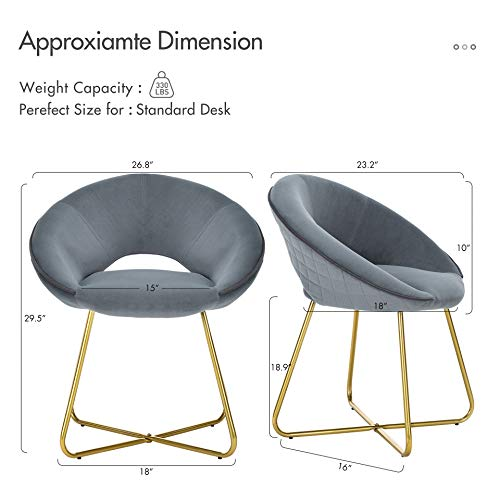 LUE BONA Modern Accent Velvet Chair, Comfy Upholstered Vanity Desk Chair Dining Chair Make-up Stool Arm Chairs, Mid Century Leisure Lounge Chairs with Golden Legs for Living Room Bedroom Home Office