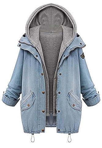 Cupshe Fashion Women's Two Piece Vest Denim Hooded Jacket Coat (XL) - Denim Coat Jacket