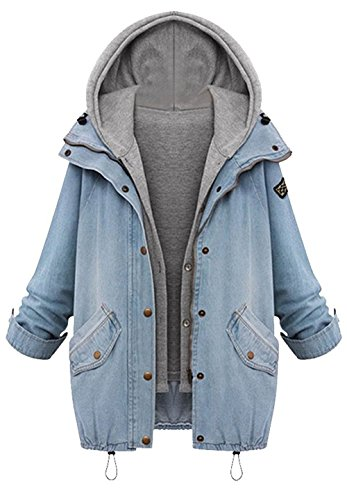 Cupshe+Fashion+Women%27s+Two+Piece+Vest+Denim+Hooded+Jacket+Coat+%28M%29