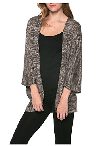 Blue-city Open Cardigan Kimono Style-Made In USA (M, Heather Charcoal A-04)