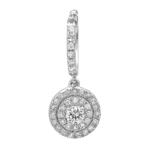 0.35 Carat (ctw) 14K White Gold Round White Diamond Ladies Halo Style Dangling Earrings by DazzlingRock Collection