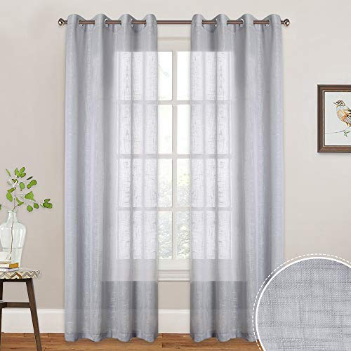 (RYB HOME Semi Sheer Curtains for Living Room, Grommet Top Linen Texture Pattern Voile, Window Curtains Brighten up Bedroom/Sliding Glass Door, Wide 52 x Long 84 inch, 2 Pcs, Dove)
