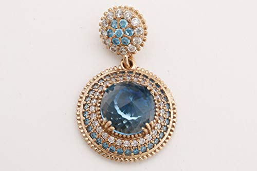 Turkish Handmade Jewelry Round Shape London Blue and Round Cut Topaz 925 Sterling Silver Pendant