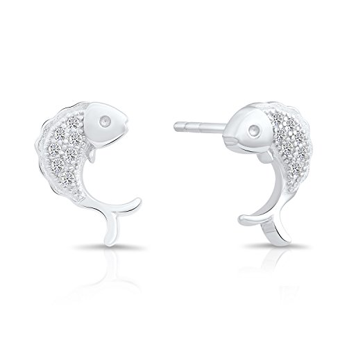 Sterling Silver Little Fish Stud Earrings with Cubic Zirconia