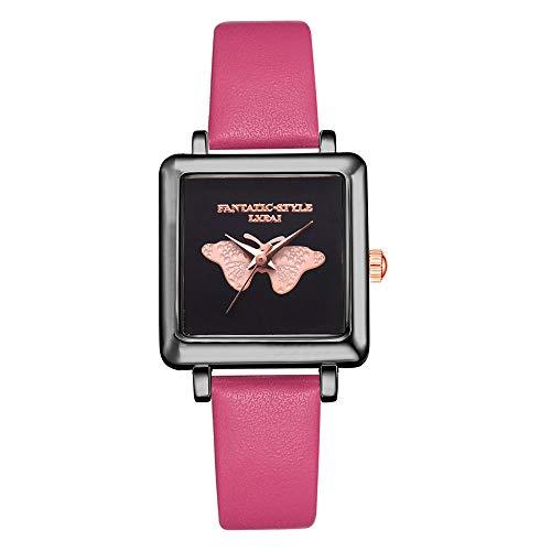 Leather Emboss Band Watch - Luxury Women's Axiba Wrist Watch with a Leather Watch Band — 3D Emboss Casual Quartz Leather Band Watch Analog Wrist Watch (Hot Pink)