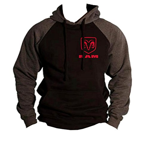 Men's Dodge Ram Logo Chest Black/Charcoal Raglan Baseball Hoodie Sweater Medium - Dodge Sweatshirt