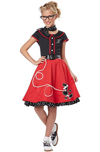 Poodle Costume 50's Dress (California Costumes Child's 50's Sweetheart Costume, Red/Black, Small)