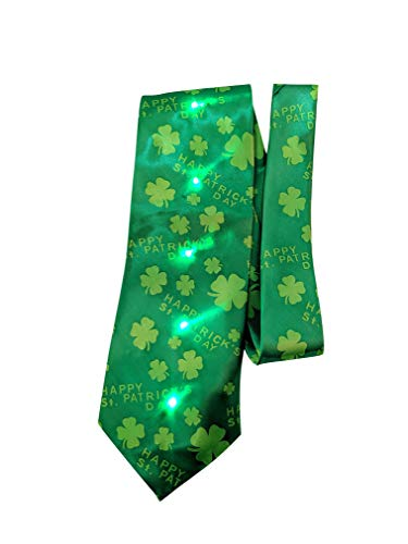 LED Light Up St. Patrick's Day Shamrock Flashing Tie