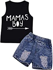 Camidy 2pcs Kids Boy Letter Print Tank Top + Ripped Hole Jeans Denim Shorts Clothes Set