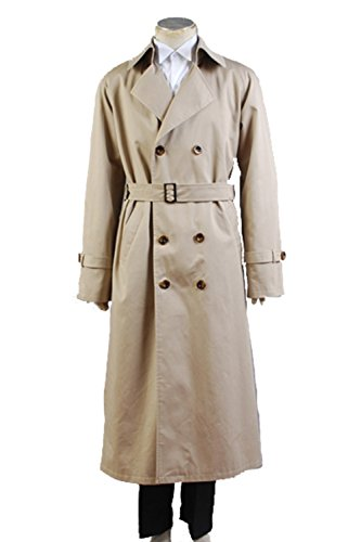 [NoveltyBoy Supernatural Hunter Angel Emmanuel Cas/Castiel Windbreaker Long Suit Trench Coat Cosplay Costume] (Man In Wind Costume)