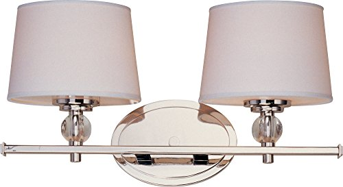 Maxim 12762WTPN, Rondo, 2-Light Bath Vanity, Polished Nickel