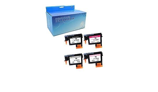 OUGUAN 4 Piezas Reacondicionadas HP 70 C9404A C9407A C9406A C9405A ...