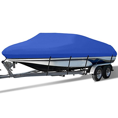 (YITAMOTOR Waterproof Boat Cover All Seasons Outdoor Protector Aluminium Film Composite Cotton Compatible for V-Hull with Quick Release Buckle and Strap (Blue, Fit 17'-19'L x 95