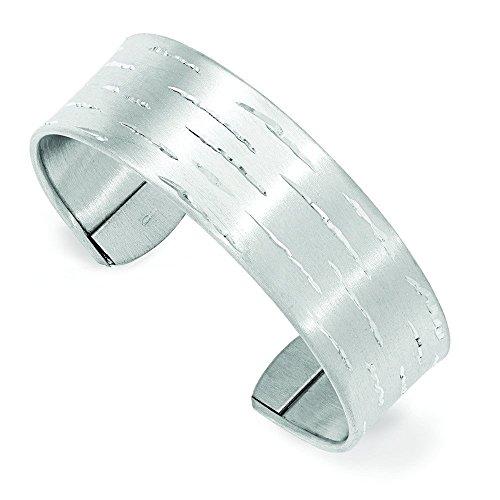 Argent Sterling diamant plate Acier brossé-Bracelet manchette-JewelryWeb ouvert