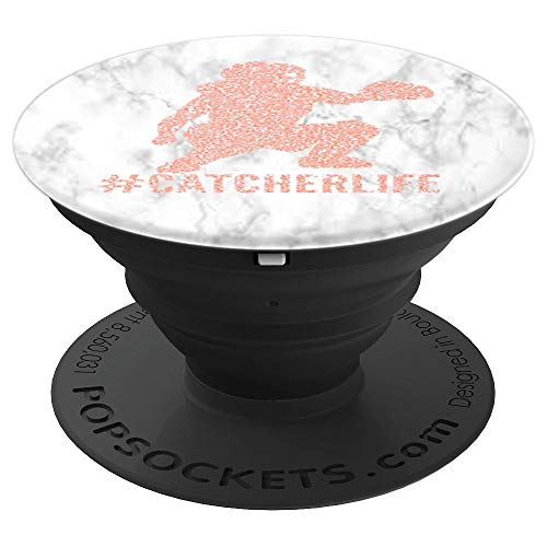 Softball Catcher Life silhouette White Marble Gift for Girls - PopSockets Grip and Stand for Phones and Tablets