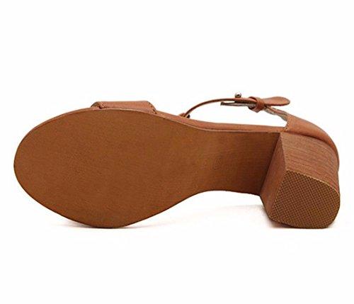 QIYUN.Z Las Mujeres De Epoca Retro Sandalias De Verano Abierta Del Dedo Pie Partido De La Correa Tobillo De Los Zapatos Tacon Grueso Marron