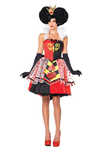 Leg Avenue Women's Disney 3Pc. Queen Of Hearts Costume, Black/Red, Medium (Disney Villain Costume)