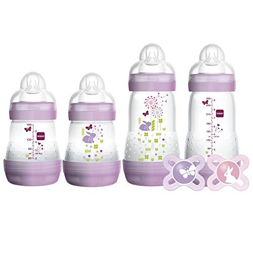 "MAM Gift Set, Best Pacifiers and Baby Bottles for Newborn Breastfed Babies,""Feed & Soothe"" Set, Girl, 6-Count"