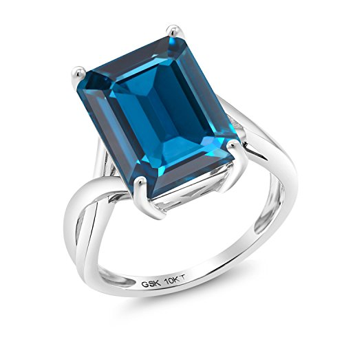 Gem Stone King 10K White Gold London Blue Topaz Women's Ring 8.50 Cttw Emerald Cut Gemstone Birthstone Jewelry Available in size 5, 6, 7, 8, 9