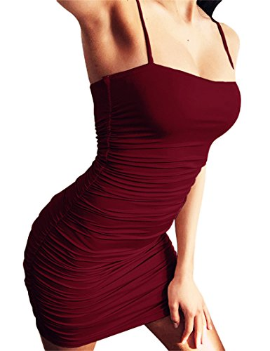 Ruched Spaghetti Straps - Mokoru Women's Sexy Spaghetti Strap Sleeveless Ruched Bodycon Mini Club Dresses, Small, WineRed