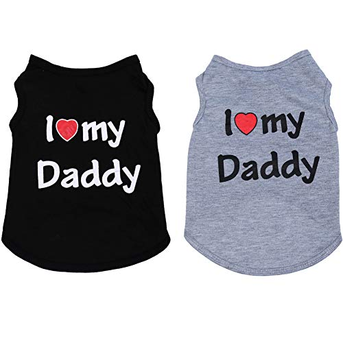 Lamphyface 2 PCS Father's Day Dog T-Shirts Clothes Dog Shirts Apparel Summer Outfit Coats for Small Dogs Cat Pet Puppy