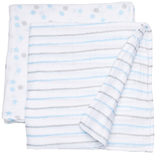 lulujo Baby Muslin Swaddling Blankets and Stroller Clips Bab