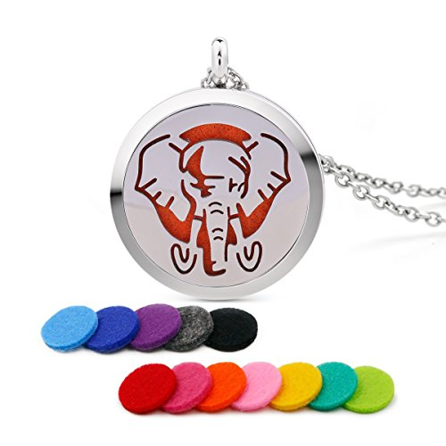 Stainless Steel Vintage Elephant Sphinx Amulet Aromatherapy Essential Oil Diffuser Perfume Pendant Necklace with 10 ()