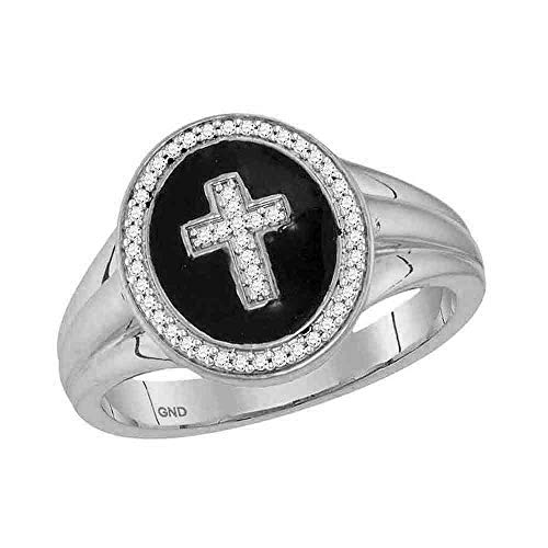 - 10kt White Gold Mens Round Diamond Cross Crucifix Fashion Ring 1/6 Cttw