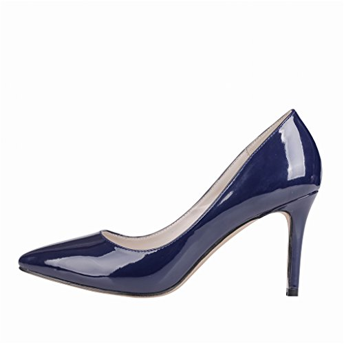 c Eks Donna Scarpe Tacco Blu lackleder Con blau UqUw0RrC