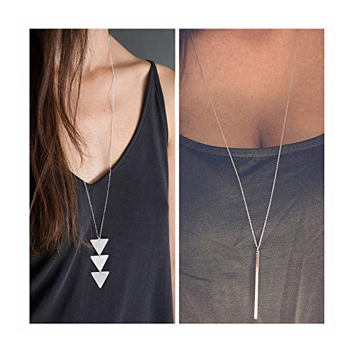 choice of all Long Lariat Y Pendant Necklace for Women Bar Pendant Necklace Jewelry (S:Silver bar and - Silver Plated Necklace Leather