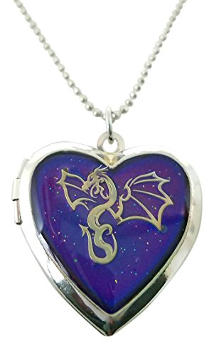 Cool Jewels® Winged Dragon on Mood Heart Shaped Locket Pendant Necklace, 16 to 18 Inches