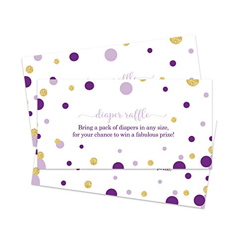 Purple And Gold Baby Shower Invitations (Diaper Raffle Tickets Purple and Gold (Pack of 25) Inserts Girls Baby Shower)
